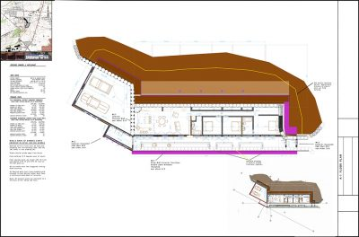 Earthship Construction Drawings Three Bedroom Earthship with a two car garage.